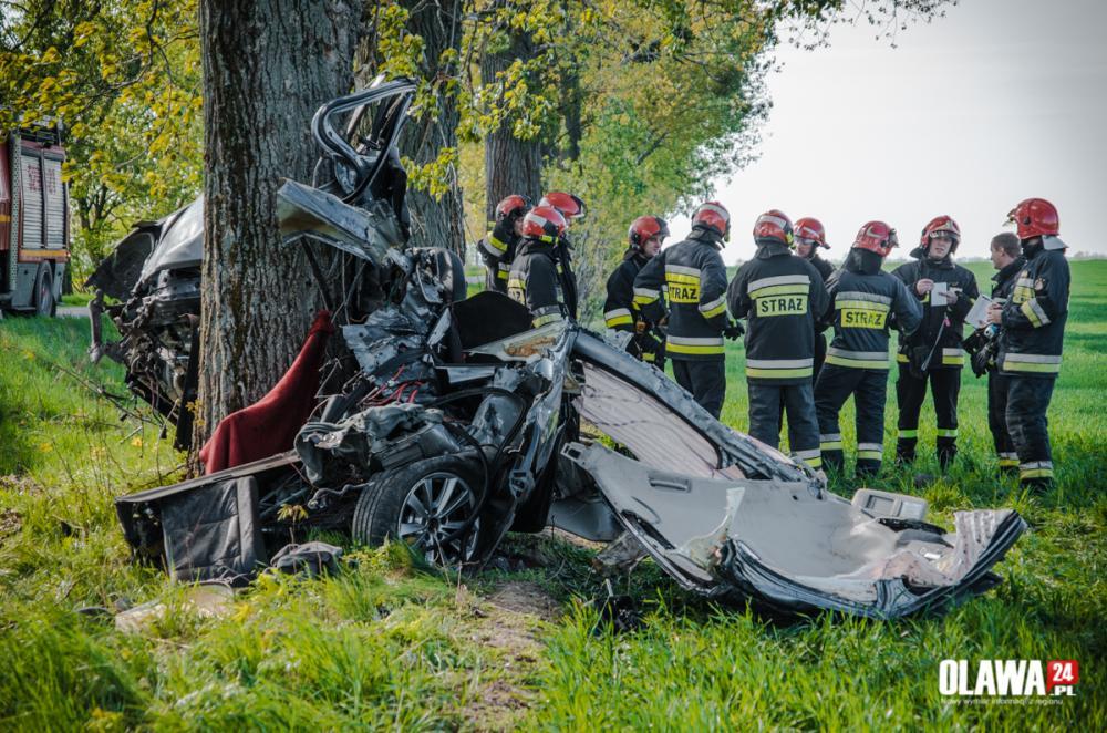 Wypadki drogowe, roztrzaskało drzewo [ZDJĘCIA] - zdjęcie, fotografia