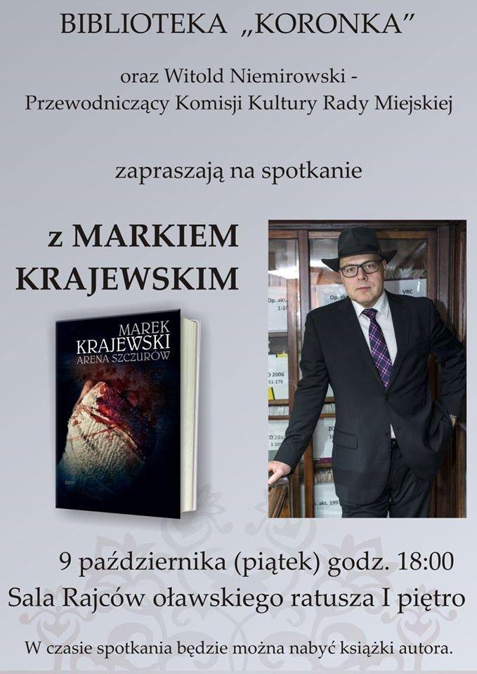"""Wernisaże spotkania, Marek Krajewski bibliotece """"Koronka"""" - zdjęcie, fotografia"""
