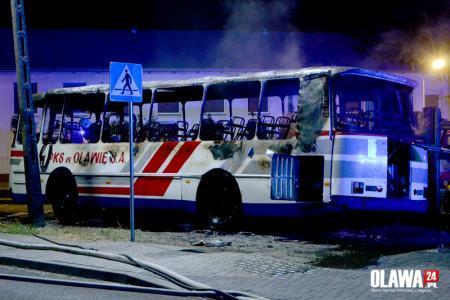 Pożary, Bystrzyca Spłonął autobus Oława - zdjęcie, fotografia