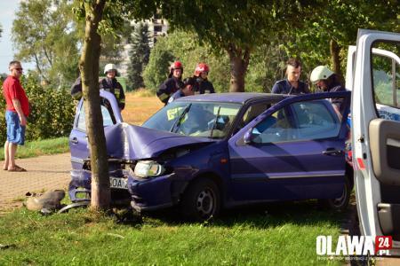 Wypadki drogowe, Zasłabła kierownicą uderzyła drzewo - zdjęcie, fotografia
