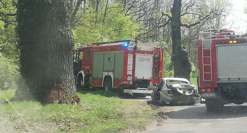 Wypadki drogowe, Stracił panowanie uderzył drzewo - zdjęcie, fotografia