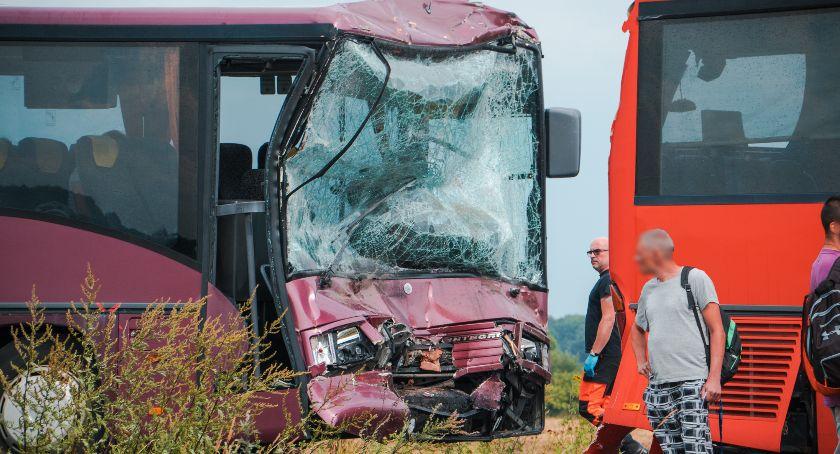 Wypadki drogowe, Kilkanaście osób poszkodowanych Wypadek dwóch autobusów [GALERIA] - zdjęcie, fotografia