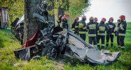 BMW roztrzaskało się o drzewo [ZDJĘCIA]