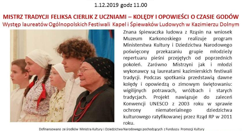 Event, Spotkanie cyklu Niedziela Muzeum Mistrz tradycji Feliksa Cierlik kolędy opowieści czasie godów - zdjęcie, fotografia