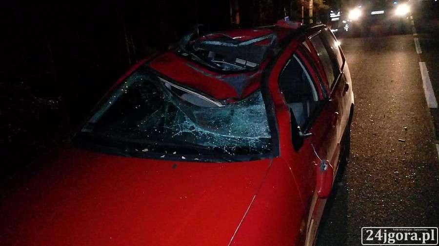 Wypadki drogowe, Zderzenie samochodu jeleniem Jedna osoba poważnie ranna - zdjęcie, fotografia