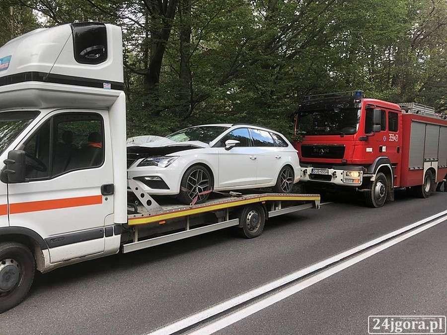 Wypadki drogowe, Zderzenie jeleniem drodze Świeradowa Szklarskiej Poręby - zdjęcie, fotografia