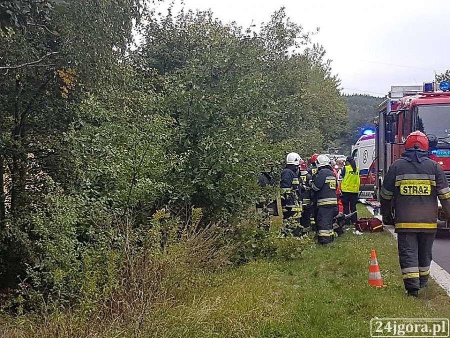 Wypadki drogowe, Jelenią Górą wypadło drogi - zdjęcie, fotografia