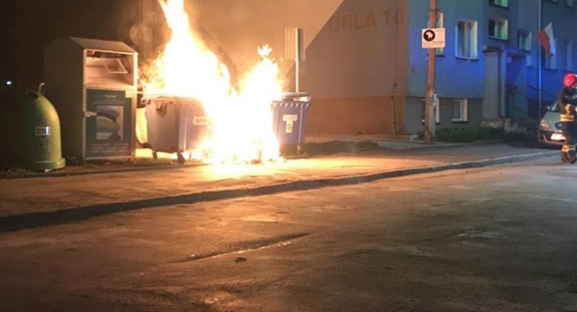 Pożary, Pożar śmietnika osiedlu - zdjęcie, fotografia