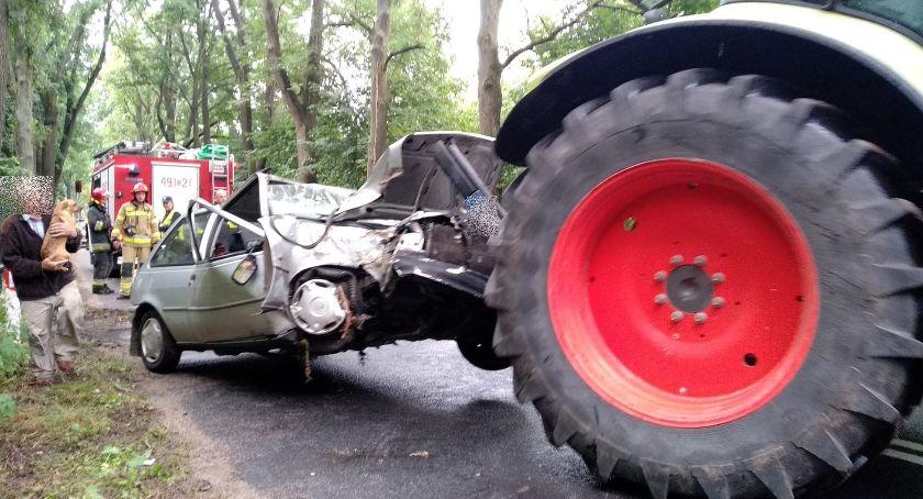 Wypadki drogowe, Pasieczniku uderzyło drzewo - zdjęcie, fotografia