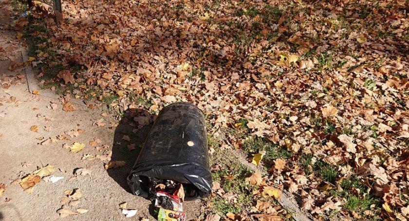 Absurdy, Powyrywane zniszczone kosze Parku Zdrojowym - zdjęcie, fotografia
