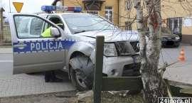 Pościg w Wojcieszycach. Radiowóz uderzył w budynek (VIDEO)