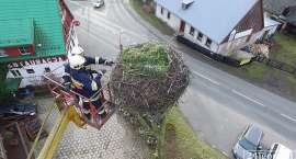 Remont bocianiego gniazda w Podgórzynie
