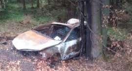 Spalony samochód porzucony w okolicach Zakrętu Śmierci