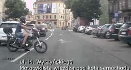 Motocyklista wjechał pod koła samochodu - prawie małe bum cz.5