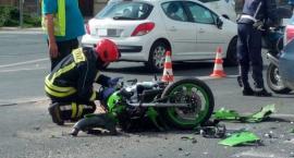 Na Placu Wyszyńskiego motocyklista zderzył się z autem osobowym