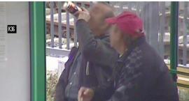 Pili alkohol pod wiatą przystankową