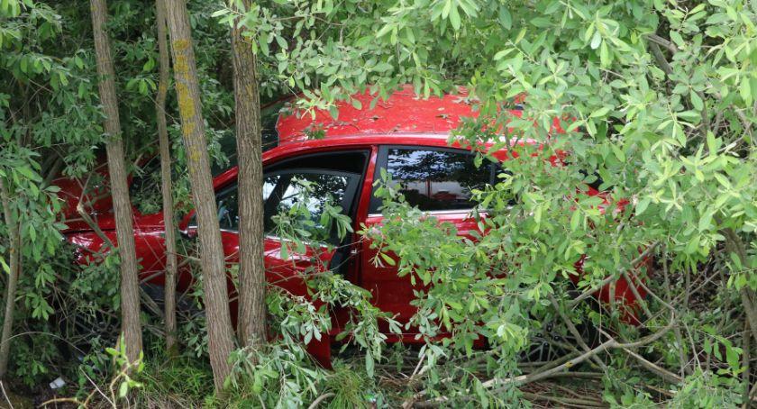 Wypadki drogowe, Rozpędzonym autem zjechali drogi krajowej (foto) - zdjęcie, fotografia