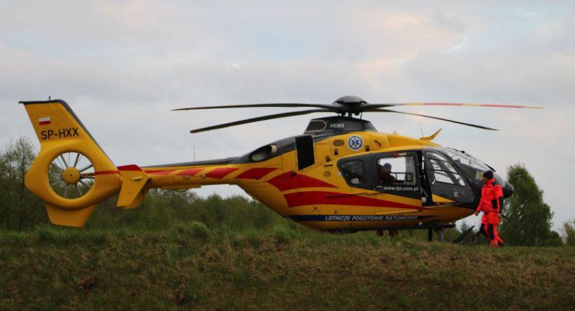 Interwencje straży i pożary, Śmigłowcem szpitala - zdjęcie, fotografia