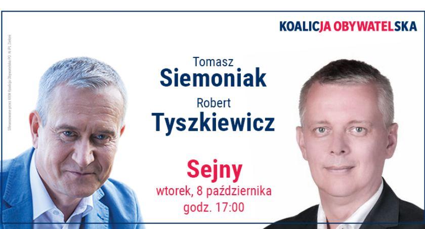 Wybory parlamentarne i europarlamentarne, Spotkanie kandydatów Koalicji Obywatelskiej wyborcami - zdjęcie, fotografia