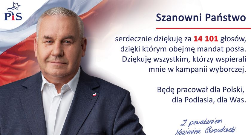 Artykuł sponsorowany, Poseł Kazimierz Gwiazdowski dziękuje - zdjęcie, fotografia