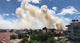 Groźny pożar na Piekarach. Płonęła łąka w pobliżu kościoła