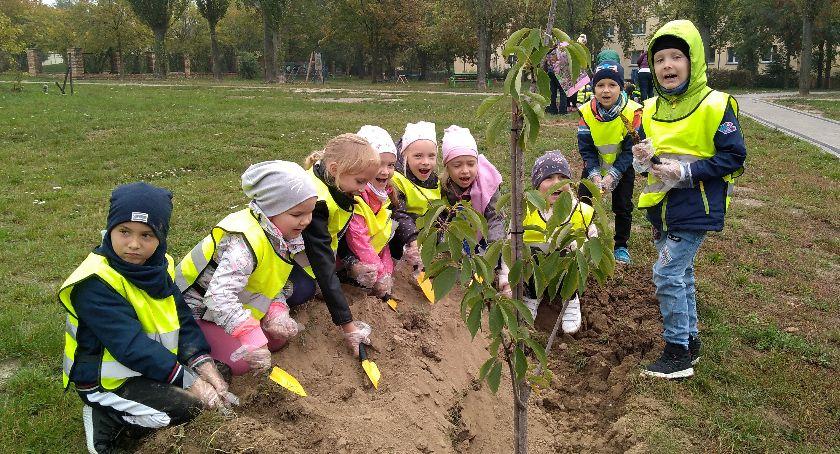 Ochrona środowiska - ekologia, Dzieci sadzą drzewa - zdjęcie, fotografia