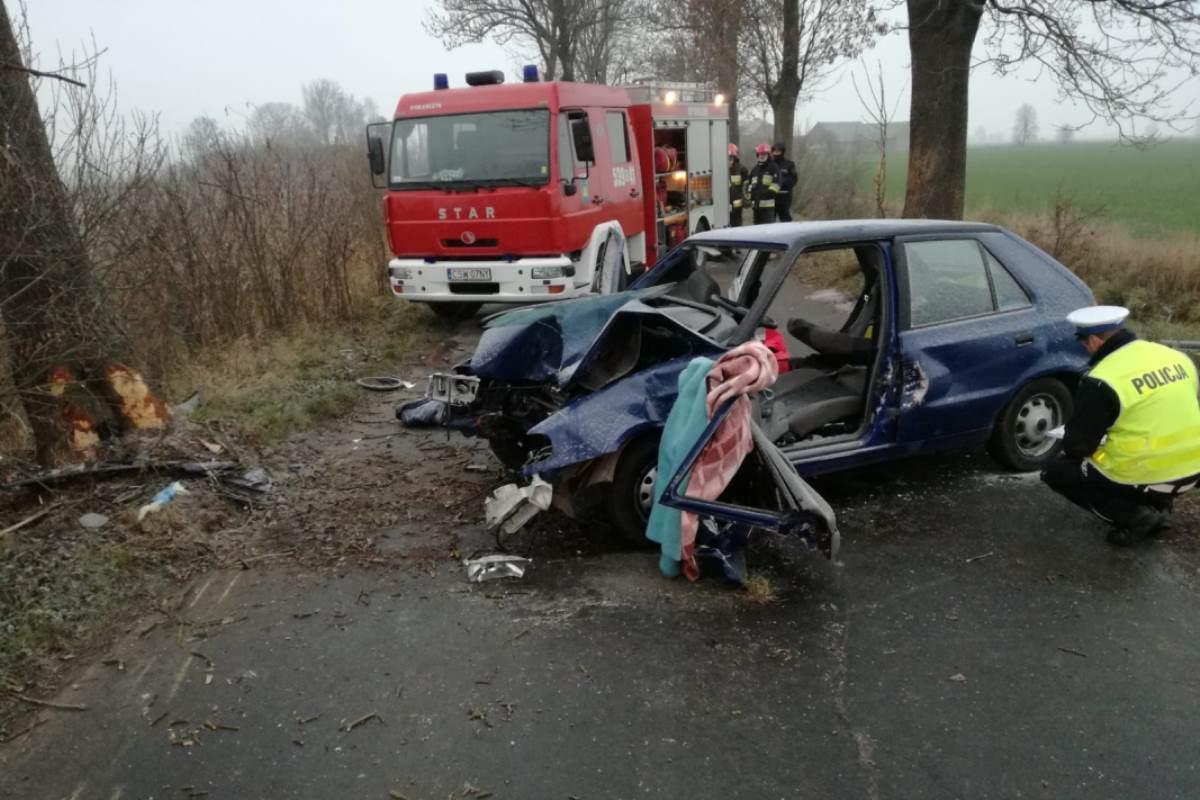 Wypadek drogowy, miejscowości Krusze zginął letni chłopak troje pasażerów trafiło szpitala - zdjęcie, fotografia