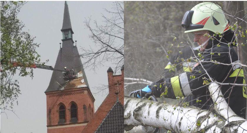 Akcja straży, Powalone drzewo zerwany kościele Strażacy mają chwili wrócić jednostki [ZDJĘCIA] - zdjęcie, fotografia