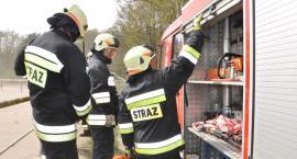 Ochotnicy z OSP Warlubie gaszą pożar. Płonie trawa na nasypie kolejowym