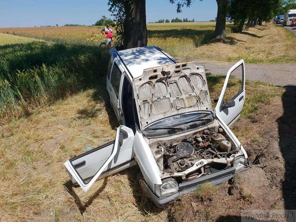 Wypadki drogowe, zjechał - zdjęcie, fotografia