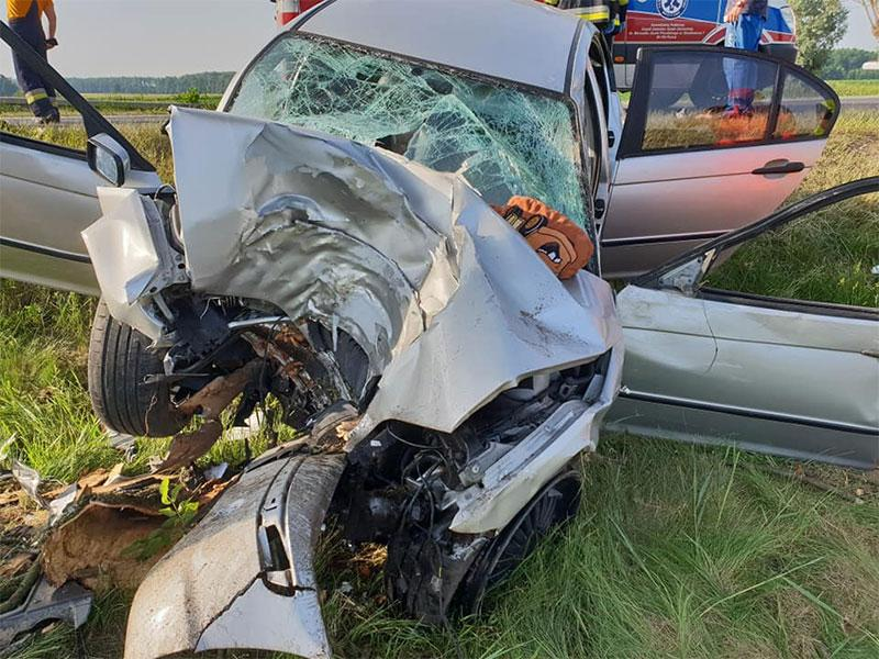 Wypadki drogowe, Groźny wypadek Drobinem Poszkodowanemu pomógł świadek zdarzenia - zdjęcie, fotografia
