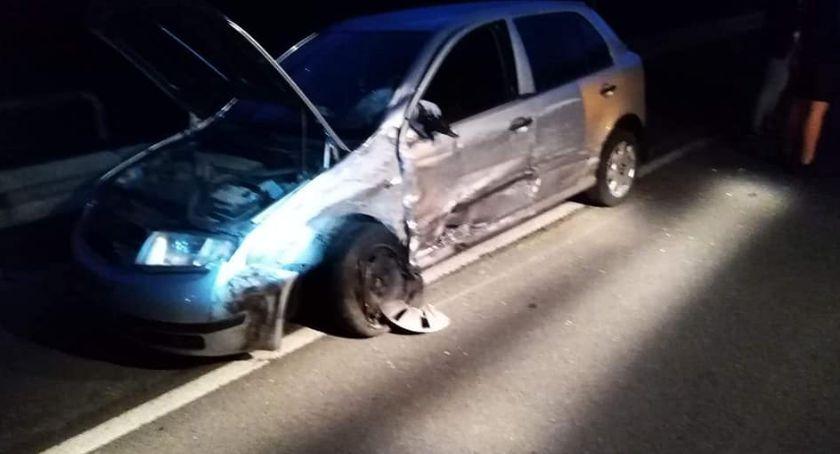 Wypadki drogowe, Czołowe zderzenie Bielsku - zdjęcie, fotografia