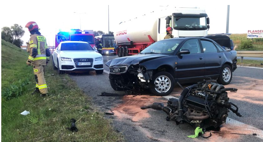Wypadki drogowe, Wypadek Moście Solidarności Tworzą spore korki [ZDJĘCIA FILM] - zdjęcie, fotografia