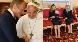 """Donald Tusk z rodziną na audiencji u papieża Franciszka. """"Właśnie przedstawiam moją wnuczkę"""""""