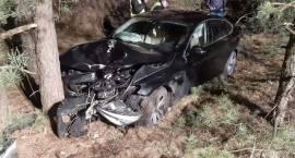 Samochód osobowy uderzył w drzewo w miejscowości Parciaki-Stacja
