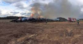 Pożar stosu gałęzi w miejscowości Zakocie