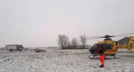 Zabezpieczenie podczas lądowania i startu śmigłowca LPR w miejscowości Milewo-Kulki