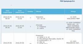 PGE: Informacja o planowanych wyłączeniach