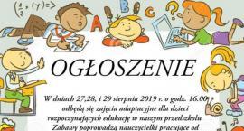 Zajęcia adaptacyjne dla przyszłych przedszkolaków - zaproszenie
