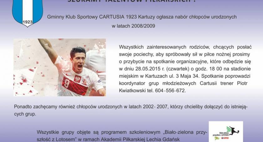 Piłka nożna, Cartusia Kartuzy szuka talentów piłkarskich - zdjęcie, fotografia
