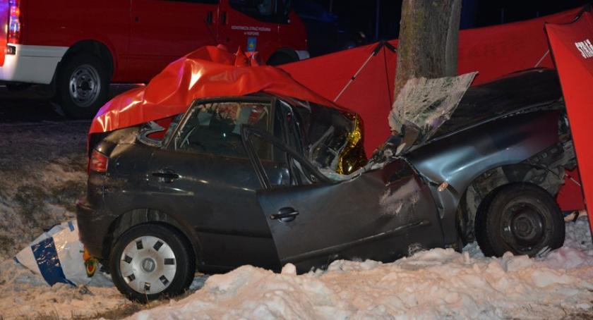 Wypadki, Borcz zepchnięty drogi rozbił drzewie żyje mężczyzna - zdjęcie, fotografia