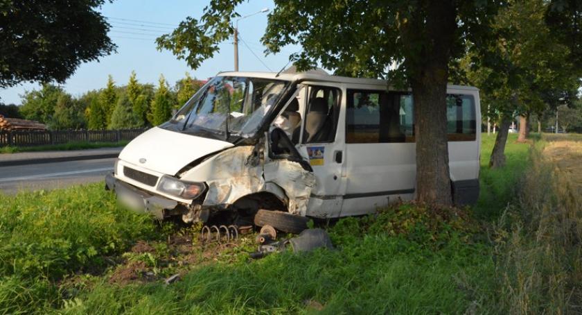 Wypadki, Dzierżążno Busem uderzył drzewo - zdjęcie, fotografia