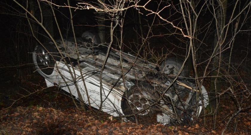 Wypadki, Dachowanie trasie Somonino Egiertowo - zdjęcie, fotografia