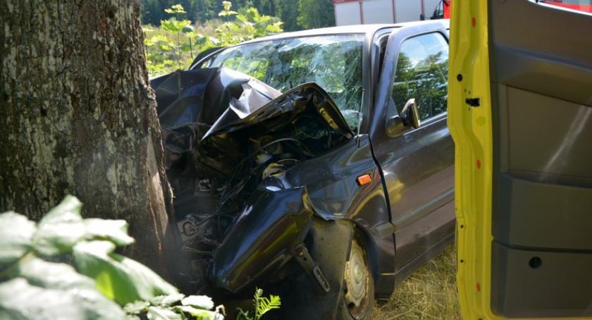 Wypadki, Prokowo uderzył drzewo żyje mężczyzna - zdjęcie, fotografia