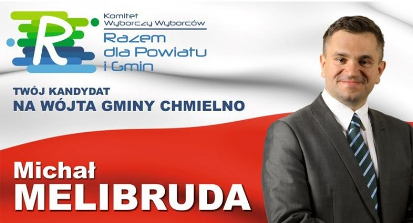 Wybory, Michał Melibruda kandydat wójta gminy Chmielno zaprasza wybory - zdjęcie, fotografia