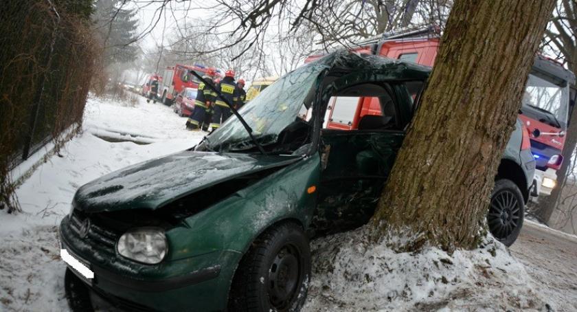 Wypadki, Połęczyno rozbił drzewie młoda kobieta walczy życie - zdjęcie, fotografia