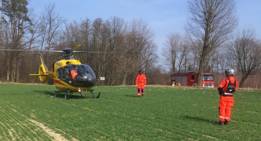 Wypadki, Motocyklista ranny wypadku Borczu - zdjęcie, fotografia