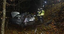 Nissan uderzył w drzewo i spadł ze skarpy. 28-letni pasażer nie żyje. Kierująca pijana