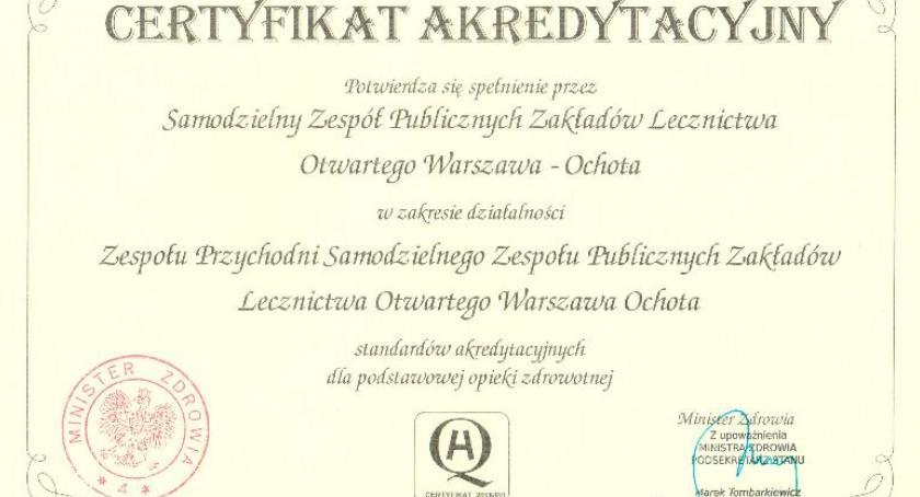Zdrowie, Certyfikat akredytacyjny SZPZLO Warszawa Ochota - zdjęcie, fotografia