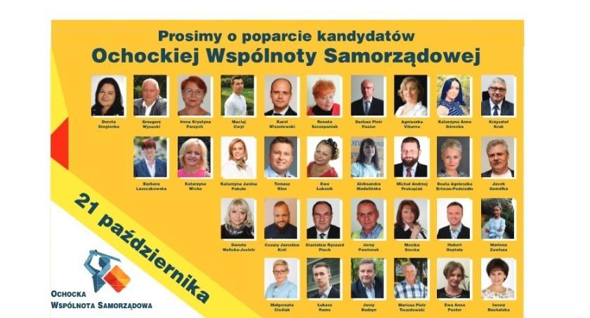 Ochocka Wspólnota Samorządowa, Lista kandydatów Ochockiej Wspólnoty Samorządowej - zdjęcie, fotografia